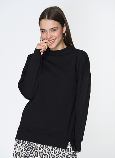 Loves You Loose Fit Basic Sweatshirt Siyah